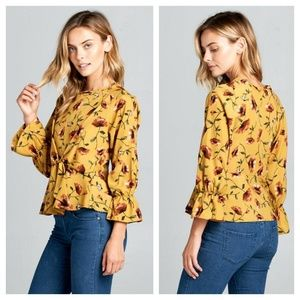 Mustard Floral Tie Front Blouse